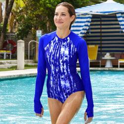 Traje de baño UV para mujer con manga larga Escalante LongSleeve Swimsuit UPF 50+ Azul Coolibar